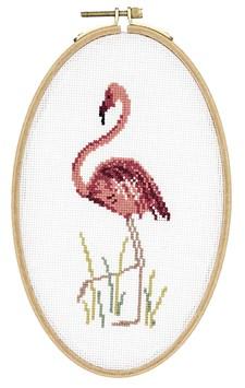 Broderi Flamingo i oval sybåge set 13 x 21 cm