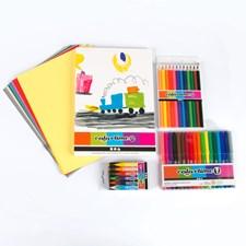 Komplett Fargeleggingssett, Fargeblyanter og Blokk