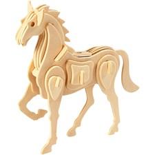3D-palapeli, hevonen, koko 18x4,5x16 cm, vaneri, 1kpl