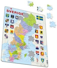 Pussel 70 bitar, Sverigekarta med landskapsvapen