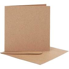 Korttipohjat kirjekuorineen, kortin koko 12,5x12,5 cm, kirjekuoren koko 13,5x13,5 cm, 10 settiä, luonnonrusk.