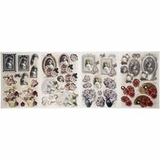 Decoupage-kuvat, arkki 21x30 cm, 3D Kukkia ja muotokuvia, 4laj