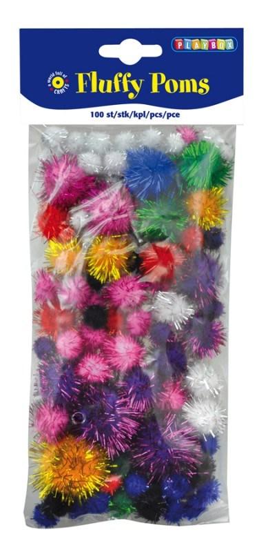 Pom-poms, 100 stk., Glitter, Playbox