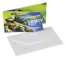Ninja Turtles inbjudningskort, 6 st