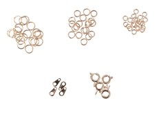 Smykkelås Sett med Springringer og Metallringer Guldfarget