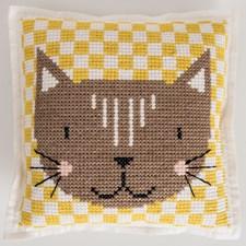 Broderi Kudde i filt med stansade hål Katt set 42 x 42 cm