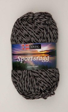Viking of Norway Sportsragg Garn Ullmix 50g Grå/svart 540