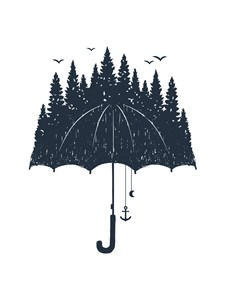 Forest umbrella Poster A4