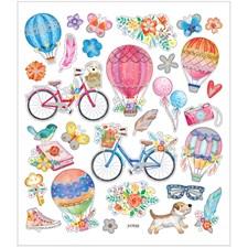 Stickers, ark 15x16,5 cm,  29 stk., Sykkel og luftballong, 1ark