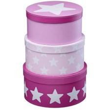 Oppbevaringsbokser 3 pk Star, Rosa, Kids concept