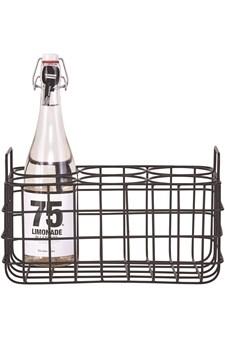 Flaskekurv for 6 flasker, Svart, House Doctor