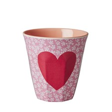 Rice Mugg Melamin Heart Print Pink Flower with Heart Print