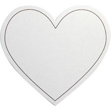 Hjerte, str. 75x69 mm, 10 stk., hvit