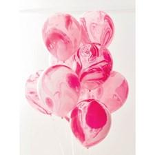 Ballonger Rosa Marmor 12-pack