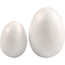Egg, H: 35+48 mm, B: 25+35 mm, hvit, isopor, 10stk.