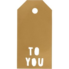 Pakettietiketit, koko 5x10 cm,  300 g, kulta, TO YOU, 15kpl