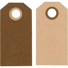 Kartonkietiketti, koko 6x3 cm, 250 g, 20 kpl, ruskea/hiekka