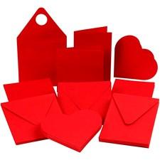 Brevkort, kort str. 7,5-15 cm, konvolutt str. 8,5-16 cm, rød, 50sett