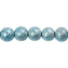 Glaspärlor Fashionmix dia 8 mm Turkos Glitter 88 st