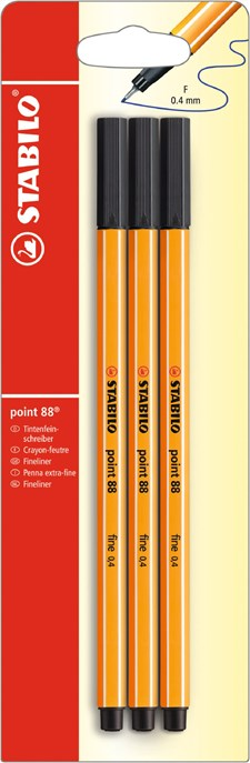 Fineliner STABILO Point 88 3-pack, Svart