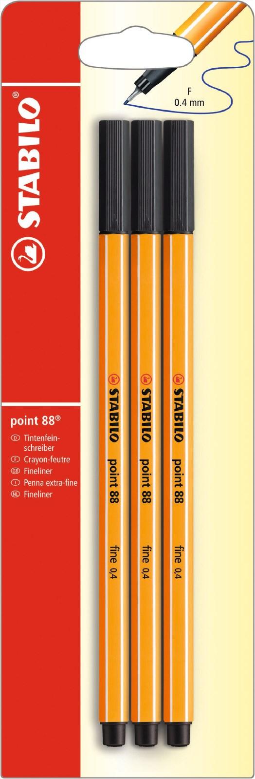 Fineliner STABILO Point 88 3-pack, Svart