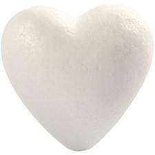 Hjerte, H: 8 cm, hvit, isopor, 5stk.