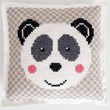 Broderi Kudde i filt med stansade hål Panda set 42 x 42 cm