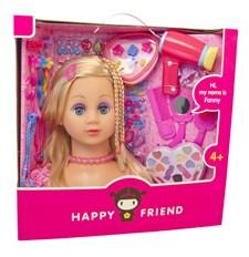Kampauspää, Fanny, Vaaleat hiukset, Happy Friend