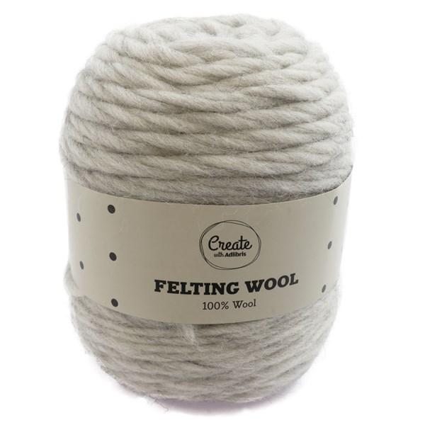 Adlibris Felting Wool 100g Light Grey Melange A113
