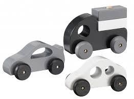 Träbilset Svart  Kids Concept - leksaksbilar & fordon