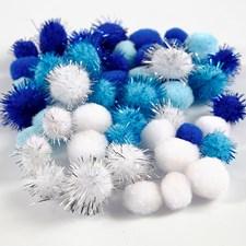 Pompomer dia. 15 mm+20 mm ljusblå, mörkblå, vit
