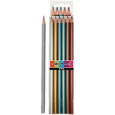 Colortime-värikynät, metallic-värit, Pit. 17,45 cm, kärki 3 mm, 6 kpl/ 1 pkk