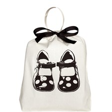 Bag-all Children Sko Pose 100% Bomull 33x31x6 cm Svart/Hvit