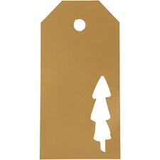 Pakettietiketit, koko 5x10 cm,  300 g, kulta, joulupuu, 15kpl