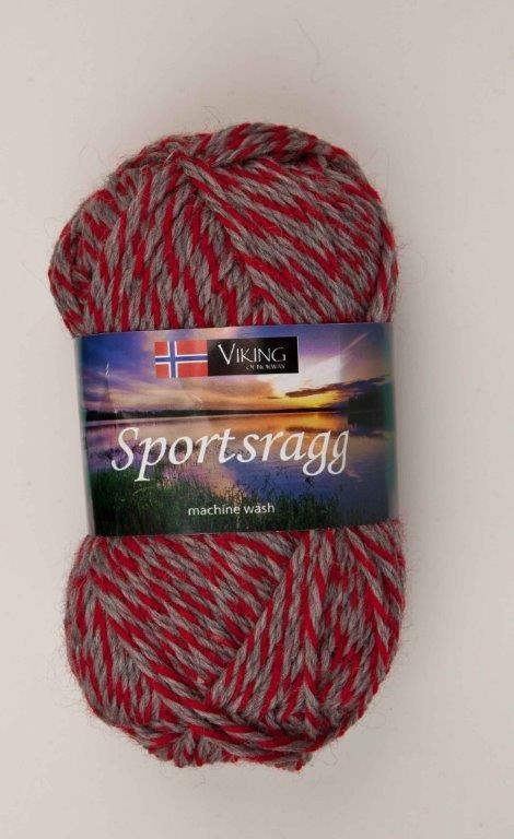 Viking of Norway Sportsragg Garn Ullmix 50g Grå/röd 560
