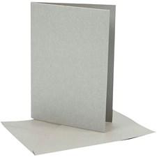 Perlemorskort, kort str. 10,5x15 cm, konvolutt str. 11,5x16,5 cm, sølv, 10sett