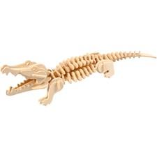3D Puzzle, krokodille, str. 33x10x10 cm, kryssfiner, 1stk.