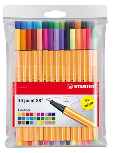 Fargeleggingspenner Fineliner STABILO Point 88, 30 stk.