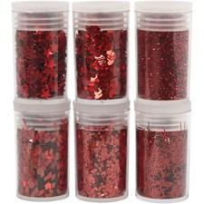 Glitter, 6x5 g, röd