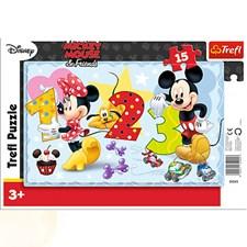 Mickey Mouse 1 2 3 Pussel, 15 bitar, Trefl