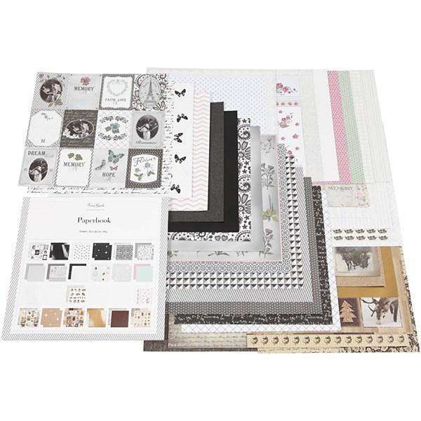 Designpapper i block, stl. 30,5x30,5 cm, 50 sidor, 50 ark