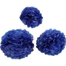 Papirpomponer, dia. 20+24+30 cm, 16 g, 3 stk., mørk blå
