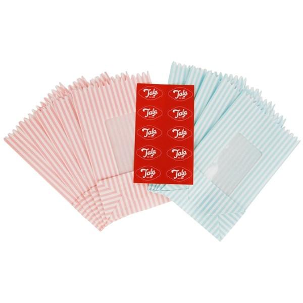 Tala Papperspåse Retro Randig 10-pack Blå rosa - övrig servering
