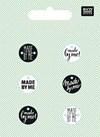 Nappi, tekstillinen, musta, valkoinen 6 kpl, 1,5 cm