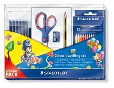 Staedtler Noris Club® Komplett Reisesett, Fargeblyanter, barnetusj, viskelær og blyantspisser