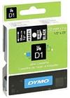 Teippi DYMO D1 12 mm valkoinen mustalla