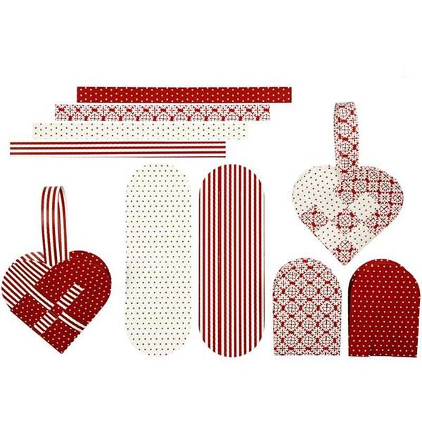 Flettede julehjerter, str. 14,5x10 cm,  120 g, hvit, rød, 8sett