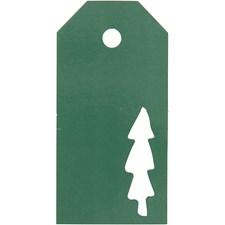 Pakettietiketit, koko 5x10 cm,  300 g, vihreä, joulupuu, 15kpl