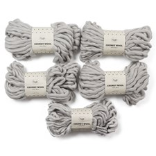 Adlibris Chunky Wool Garn 200g Light Grey A135 5-pack