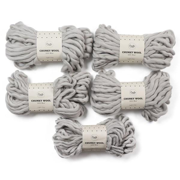 Adlibris Chunky Wool Garn 200g Light Grey A135 5-pack